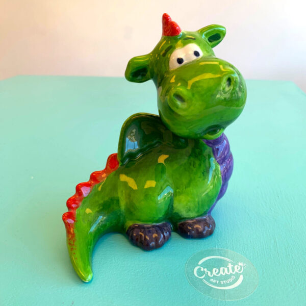 Create Art Studio Ceramics Painting Friendly Dragon in colour