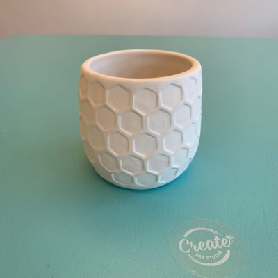 Custom painted pottery honeycomb planter vase ceramic paint at home kit from Create Art Studio