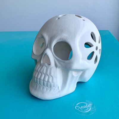 Create Art Studio ceramics painting skull candle votive
