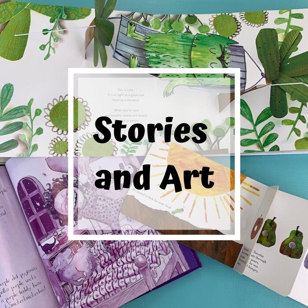 Create Art Studio Mixed media art class for young children stories and art
