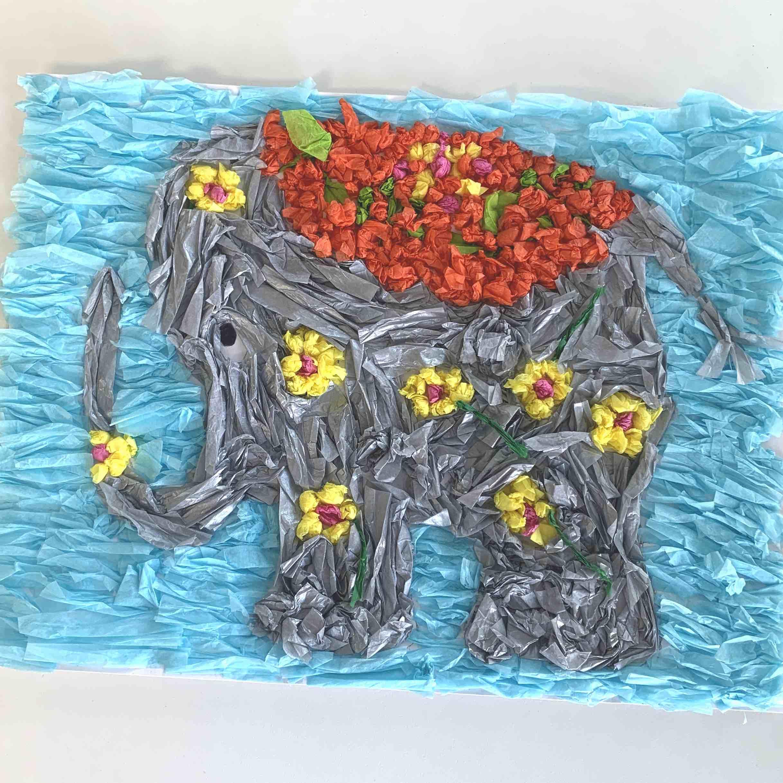 Create Art Studio summer boredom busters for kidsTissue Paper Elephant Art DIY Breakfast Television Camp BT