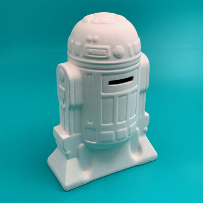 Star Wars R2D2 Money bank rear view ceramics to go paint at home kit from Create Art Studio