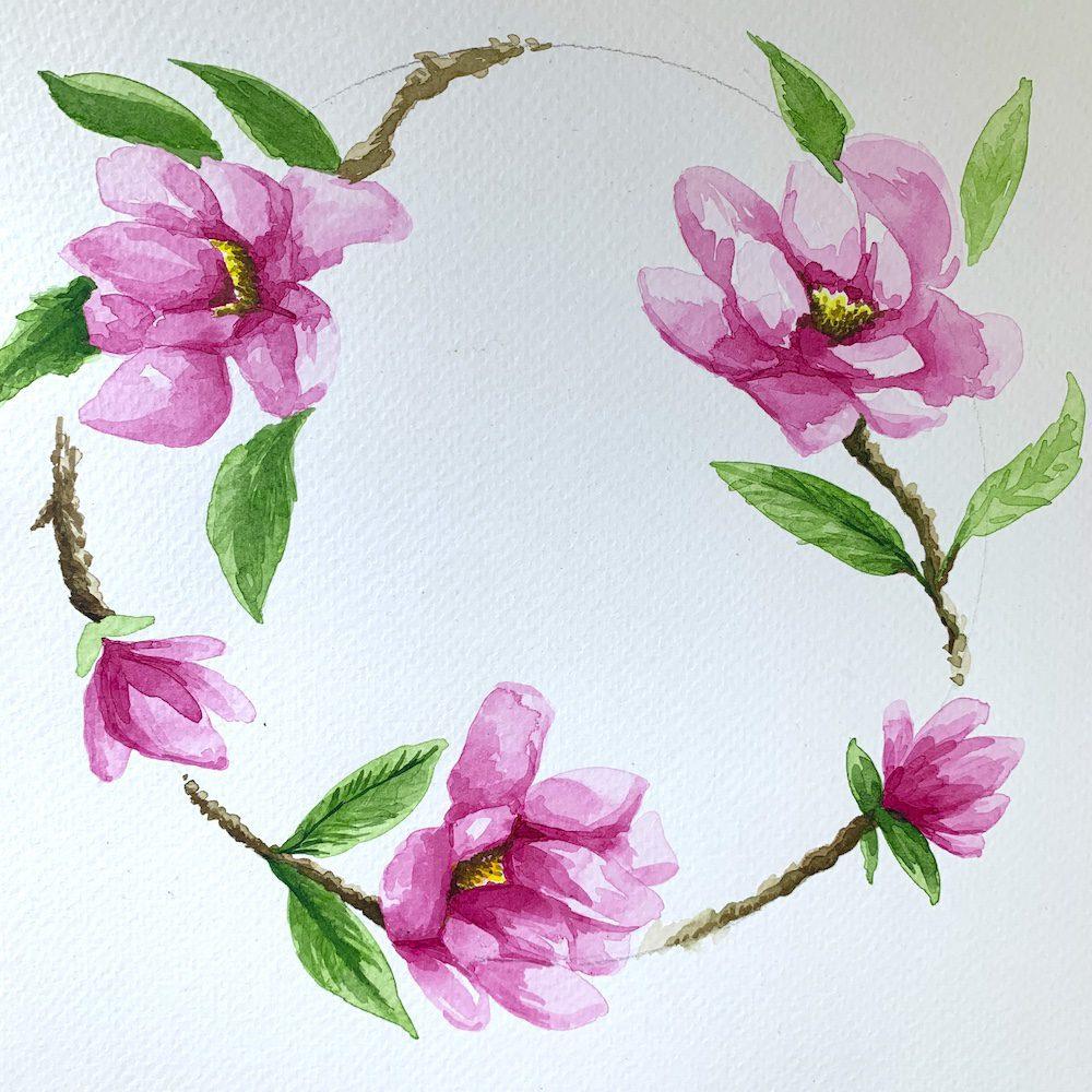 Create Art Studio Acrylic Ink Workshop Circular Flowers Watercolour Adult learn to paint